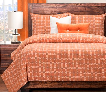 Foxford Crossing Orange 6 Pc King Duvet Set