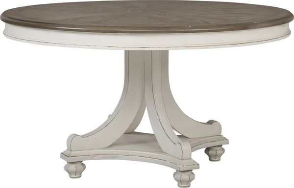 French Market White Round Dining Table
