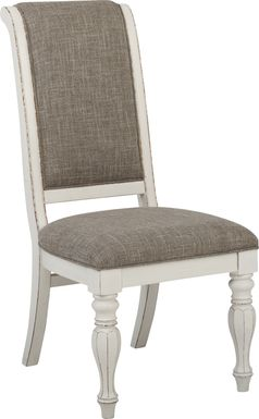 French Market White Upholstered Back Side Chair