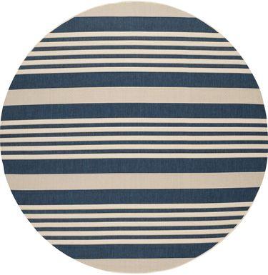 Fresh Stripes Navy 8' Round Indoor/Outdoor Rug