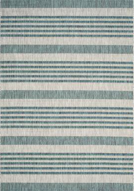 Fresh Stripes Teal 6'7 x 9'6 Indoor/Outdoor Rug