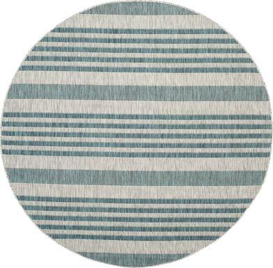 Fresh Stripes Teal 8' Round Indoor/Outdoor Rug