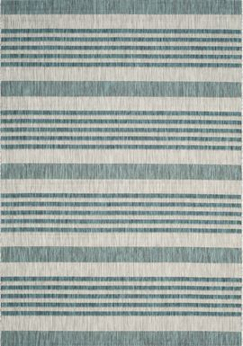Fresh Stripes Teal 8' x 11' Indoor/Outdoor Rug