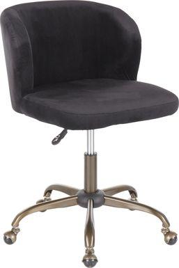 Fussell Black Plush Desk Chair