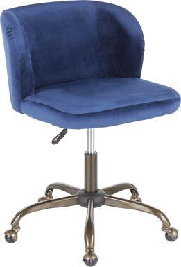 Fussell Blue Plush Desk Chair