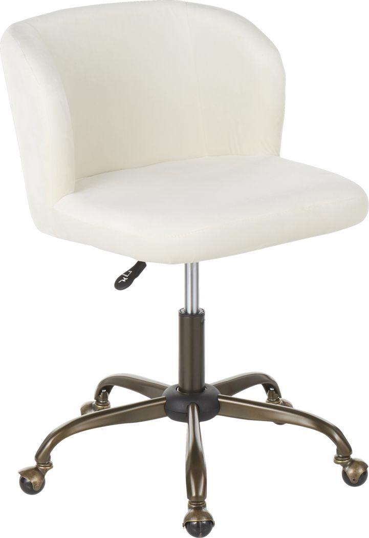 Fussell Cream Plush Desk Chair