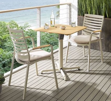 Garden View Sand 3 Pc Outdoor Dining Set with Flip Table