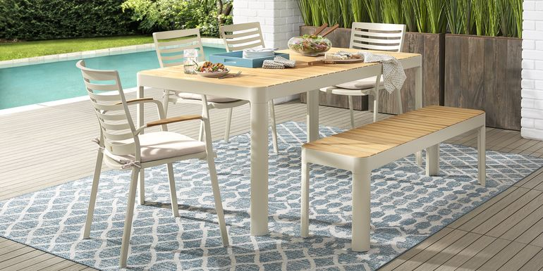 Garden View Sand 6 Pc Rectangle Outdoor Dining Set