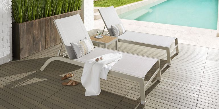Garden View Sand Outdoor Chaise, Set of 2