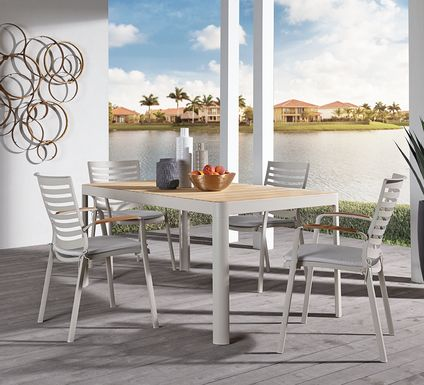 Garden View Sand 5 Pc Rectangle Outdoor Dining Set