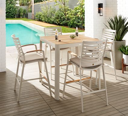 Garden View Sand 5 Pc Square Outdoor Bar Height Dining Room
