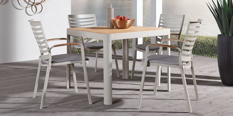Garden View Sand 5 Pc Square Outdoor Dining Set