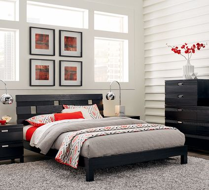 Gardenia Black 5 Pc Queen Platform Bedroom