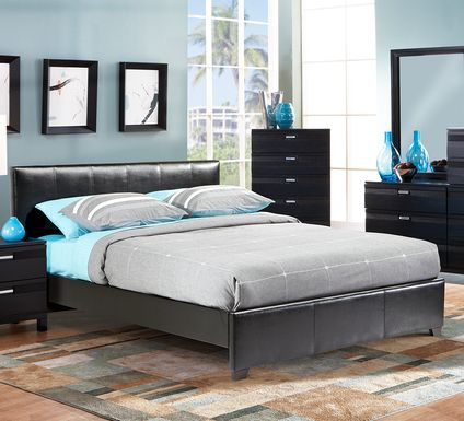 Gardenia Black 5 Pc Queen Upholstered Bedroom