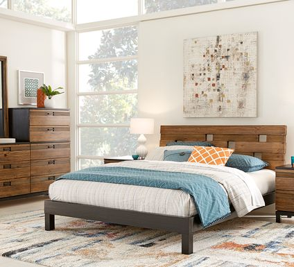 Gardenia Honey 5 Pc Queen Platform Bedroom
