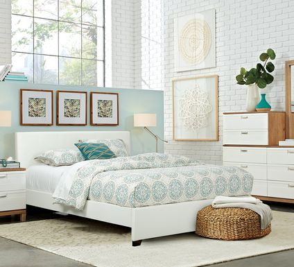 Gardenia Pecan 5 Pc Queen Bedroom with White Upholstered Bed