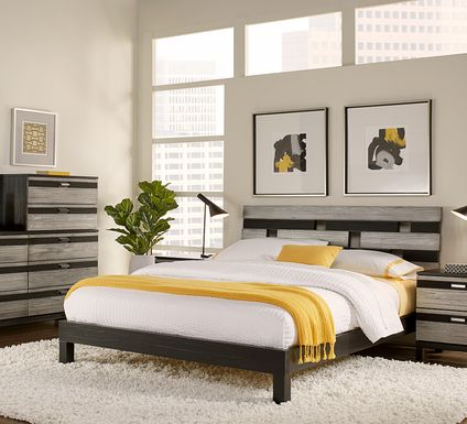 Gardenia Silver 5 Pc Queen Platform Bedroom
