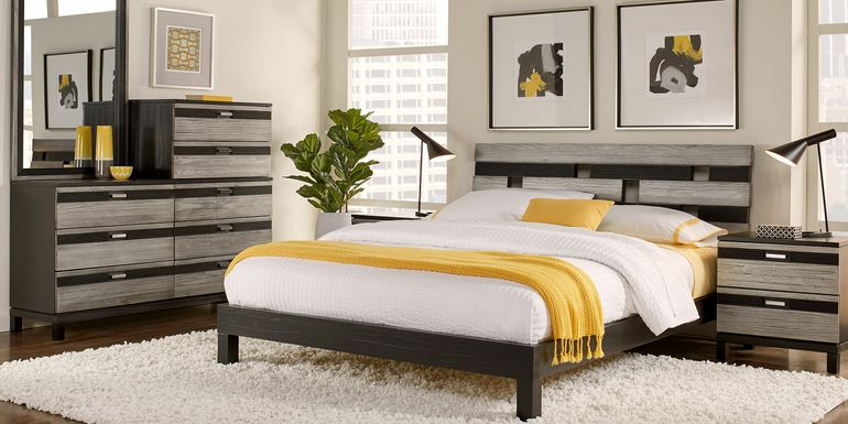 Gardenia Silver 6 Pc Queen Platform Bedroom