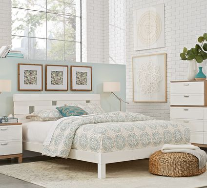 Gardenia White 5 Pc Queen Platform Bedroom