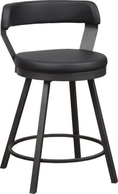Gilray Black Swivel Counter Height Stool, Set of 2