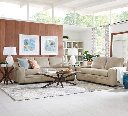 Gisella Taupe Leather 5 Pc Living Room
