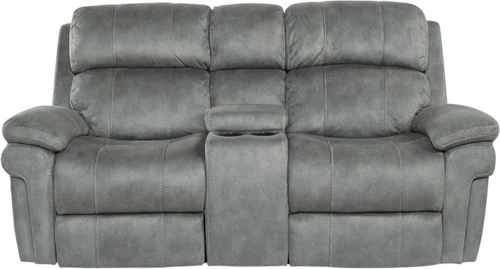 Glendale Place Charcoal Dual Power Reclining Console Loveseat