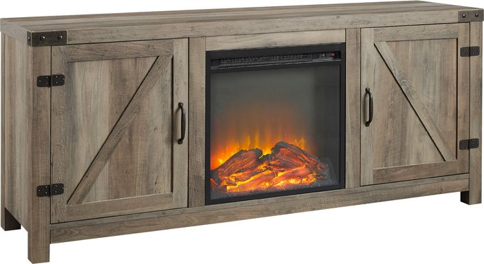 Gloxina Gray 58 in. Console, With Electric Fireplace