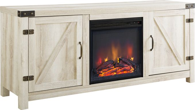 Gloxina White 58 in. Console, With Electric Fireplace