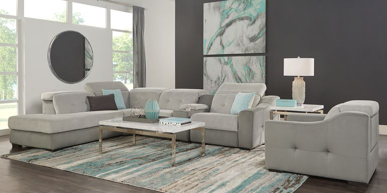 Grande Point Gray 5 Pc Power Reclining Sectional