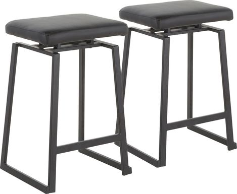 Grannis Black Counter Height Stool, Set of 2