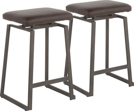 Grannis Brown Counter Height Stool, Set of 2