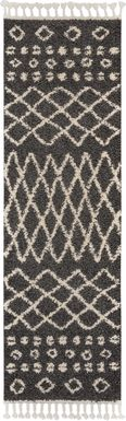 Graphic Patterns Charcoal 2'2 x 8'1 Runner Rug