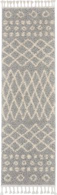Graphic Patterns Silver 2'2 x 8'1 Runner Rug