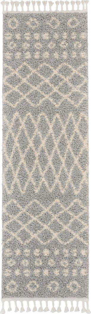 Graphic Patterns Silver 2'2 x 8'1 Runner Rug