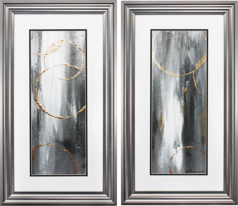 Gray Waterfall Set of 2 Artwork