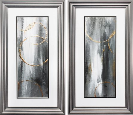 Gray Waterfall Set of 2 Artwork