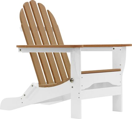 Greenport Natural White and Mocha Outdoor Adirondack Chair