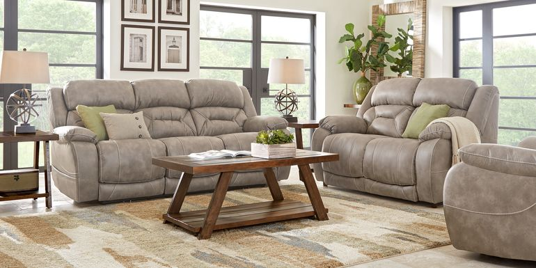 Griffin Valley Taupe 2 Pc Living Room with Triple Power Reclining Sofa