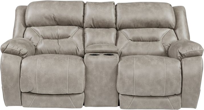 Griffin Valley Taupe Triple Power Reclining Console Loveseat