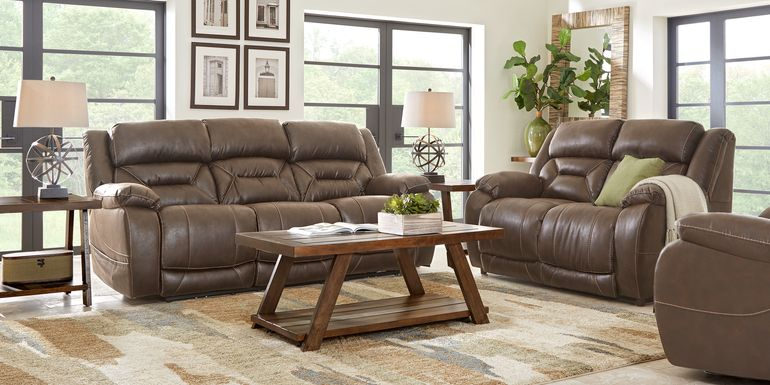 Griffin Valley Walnut 2 Pc Living Room with Triple Power Reclining Sofa