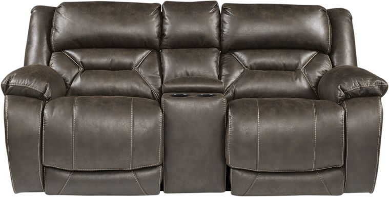 Griffin Valley Walnut Triple Power Reclining Console Loveseat