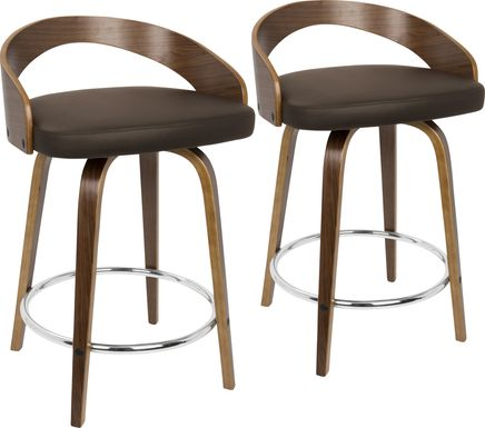 Grotto Brown Counter Height Stool (Set of 2)