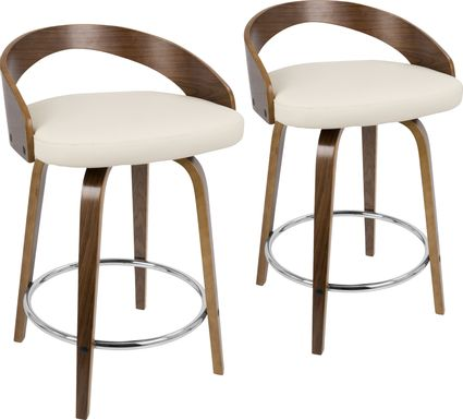 Grotto Cream Counter Height Stool (Set of 2)