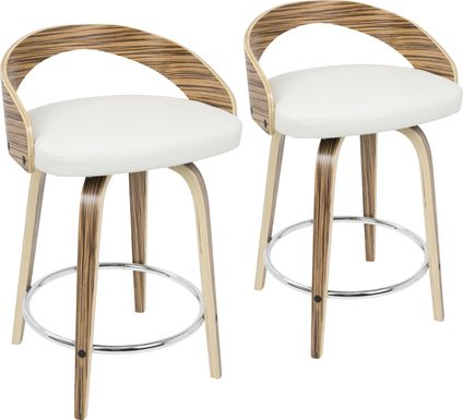 Grotto White Counter Height Stool (Set of 2)