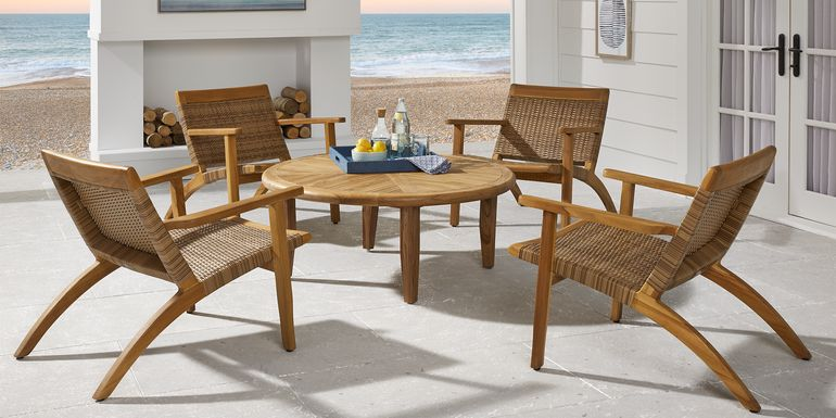 Hagen Tan Teak 5 Pc Round Outdoor Chat Seating Set