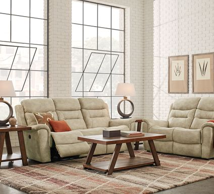 Halton Hills Sand 3 Pc Living Room with Reclining Sofa