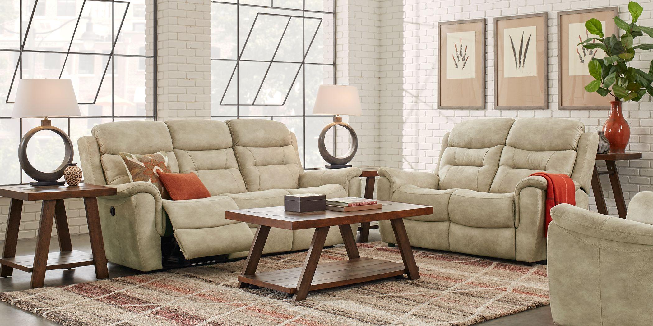 Halton Hills Sand 3 Pc Living Room with Reclining Sofa