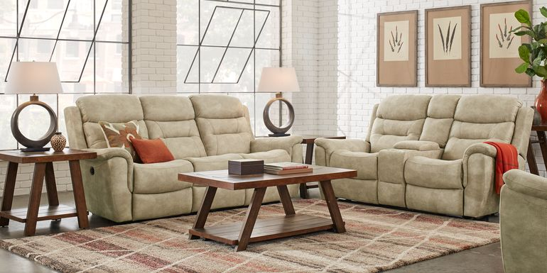 Halton Hills Sand 5 Pc Power Reclining Living Room