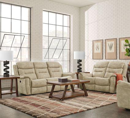 Halton Hills Sand 7 Pc Power Reclining Living Room