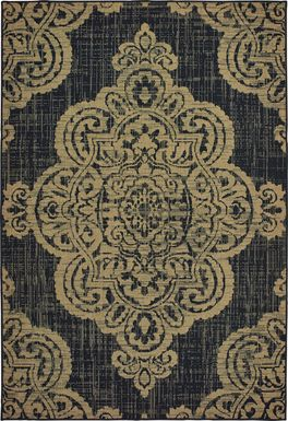 Hamiller Black 6'7 x 9'6 Indoor/Outdoor Rug